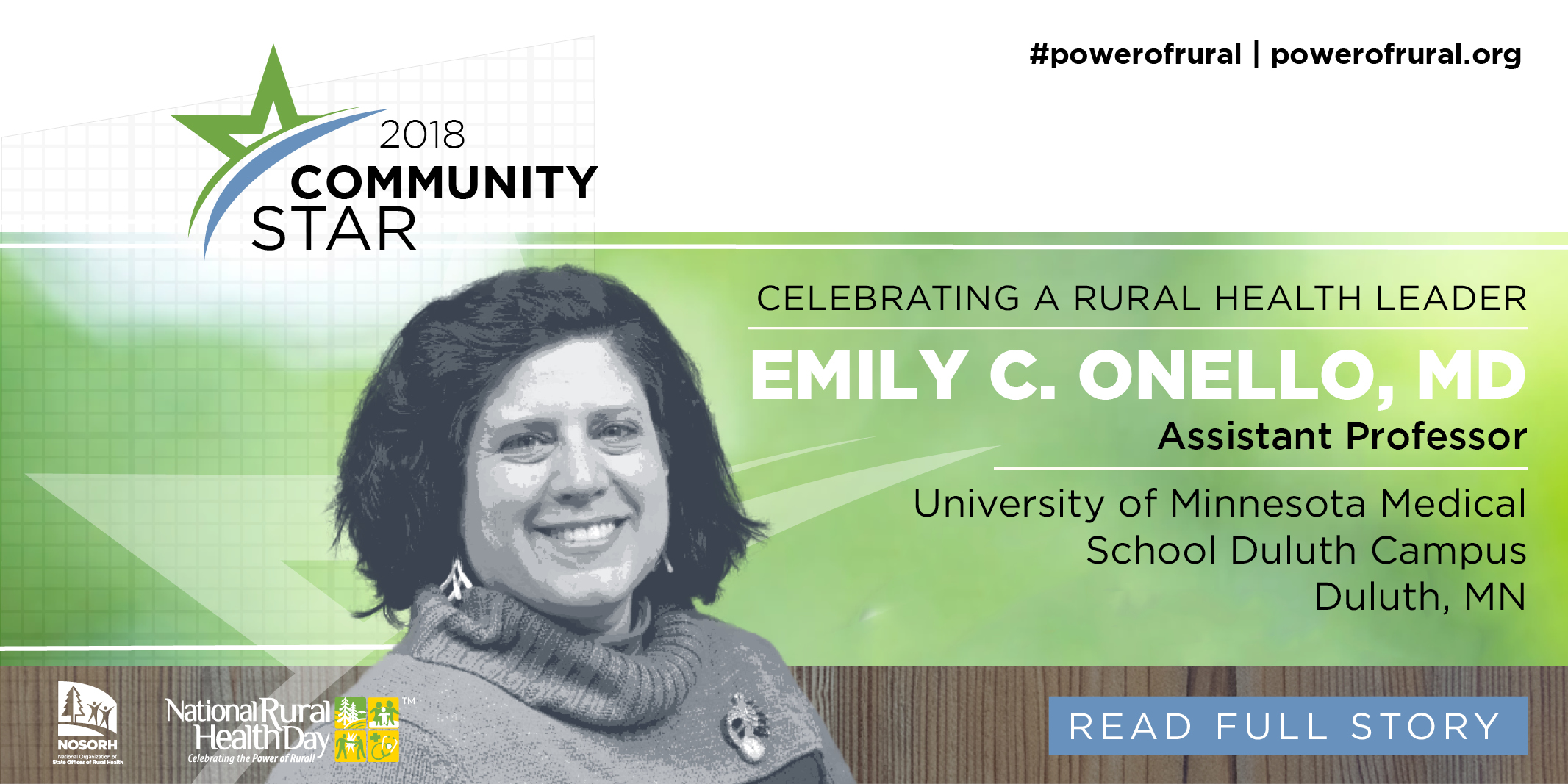 """Dr. Emily Onello, named as a 2018 """"Community Star"""" by the National Organization of State Offices of Rural Health (NOSORH)"""