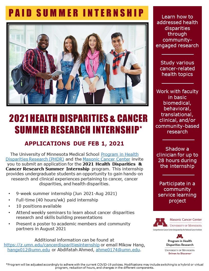 cancer disparities internship flyer
