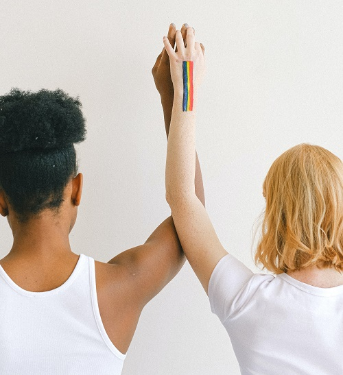 Women with arms upraised