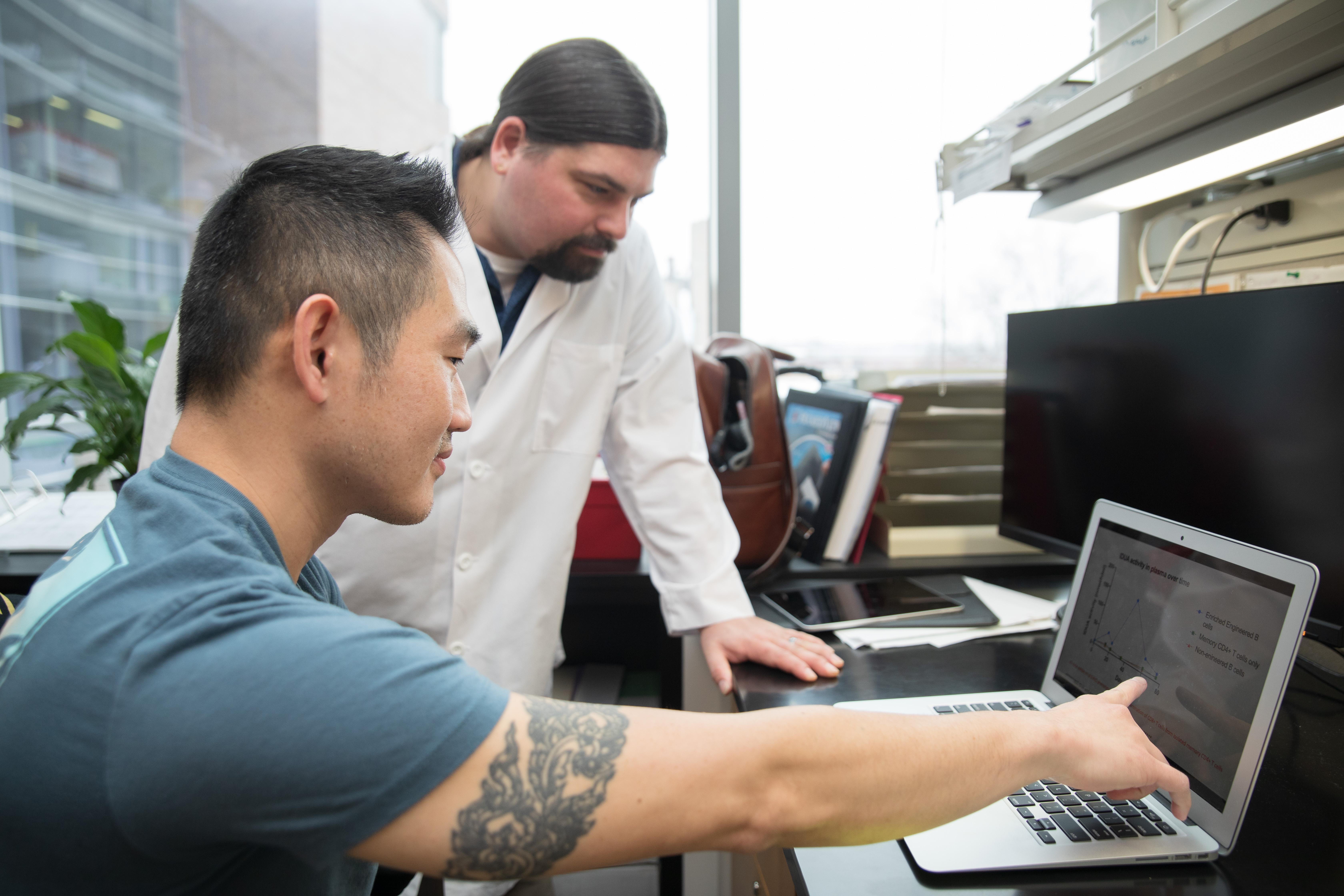 Branden Moriarity, PhD, in the lab