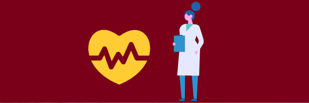 Doctor and heart with pulse