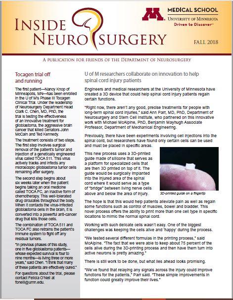 Fall 2018 cover of Inside Neurosurgery newsletter