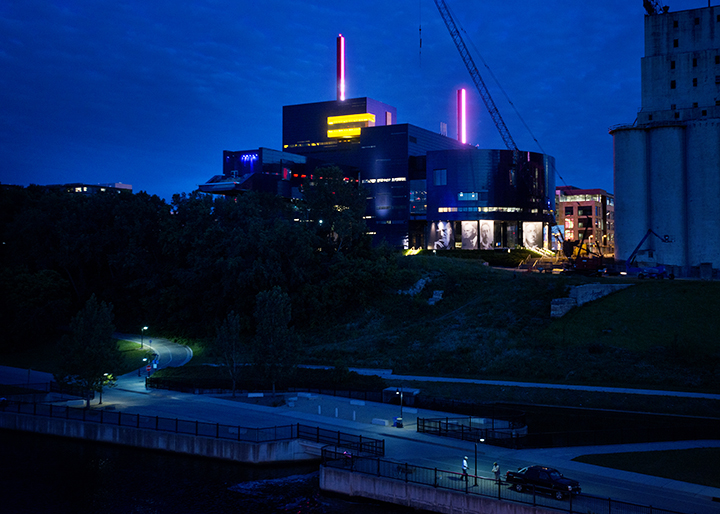 Guthrie Theater in Minneapolis at night.