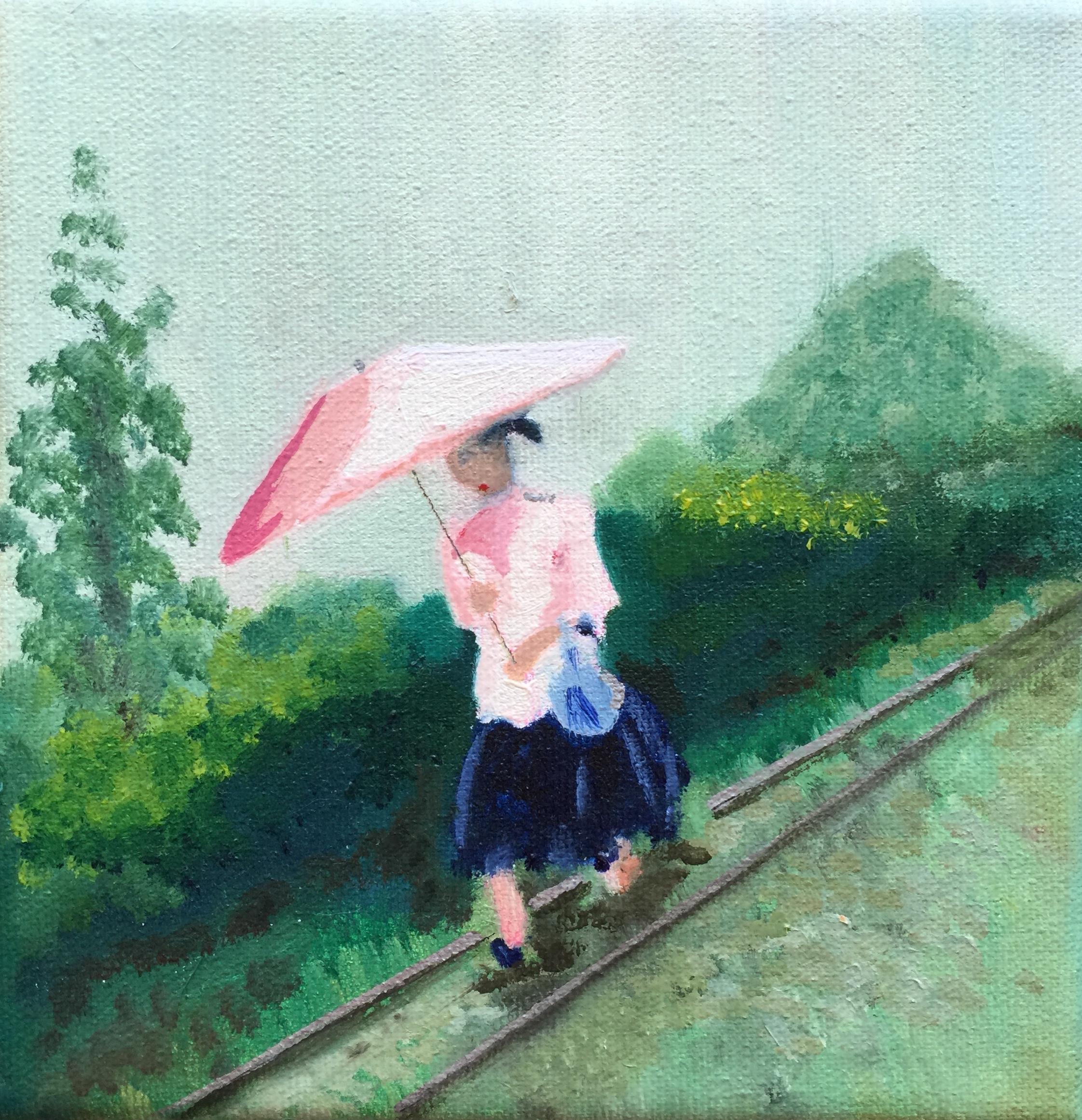 Lady in Rain by Carol Lange