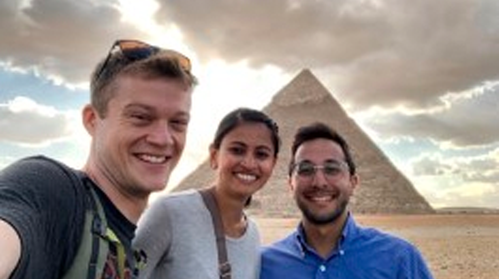 three medical students in Egypt
