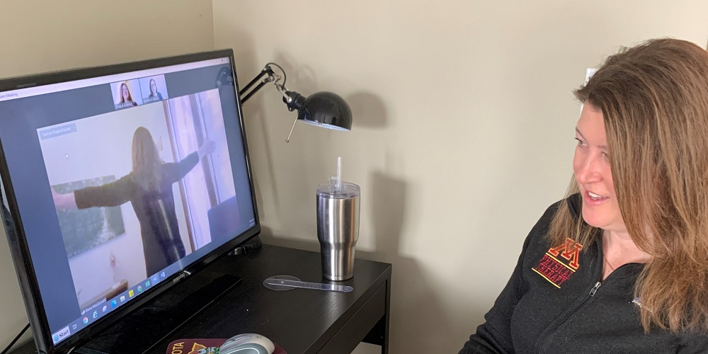 Dr. Linda Koehler demonstrates using telehealth