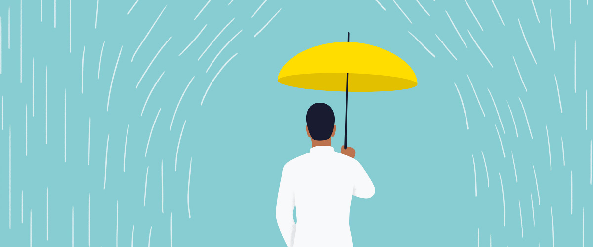 Illustration of a medical student under an umbrella while it is raining