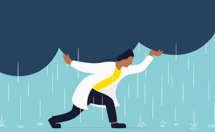 Illustration of a medical student holding up a dark rain cloud