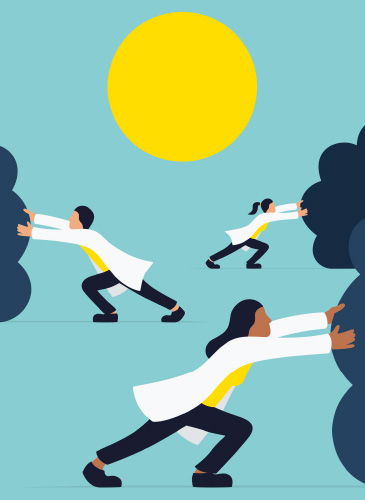 Illustration of medical students pushing away dark clouds with the sun in the background