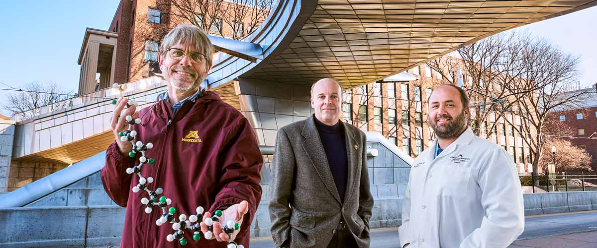 For the first time, the University's Frank Bates, Ph.D. (far left), put his block copolymer expertise to use for a medical purpose when he started collaborating with cross-campus colleagues Joseph Metzger, Ph.D. (center), and Demetris Yannopoulos, M.D.