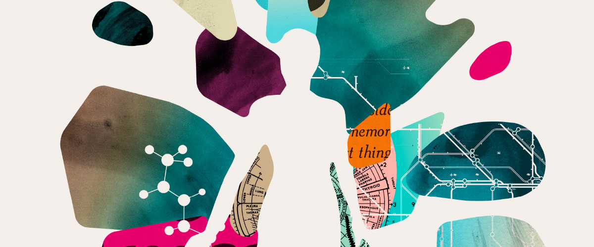 Illustration, silhouette of person with abstract colors