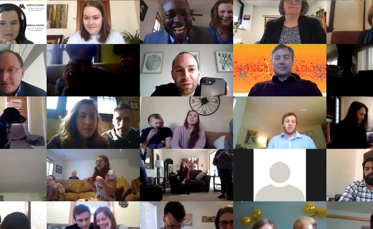 Screenshot of a zoom meeting with many people's faces.