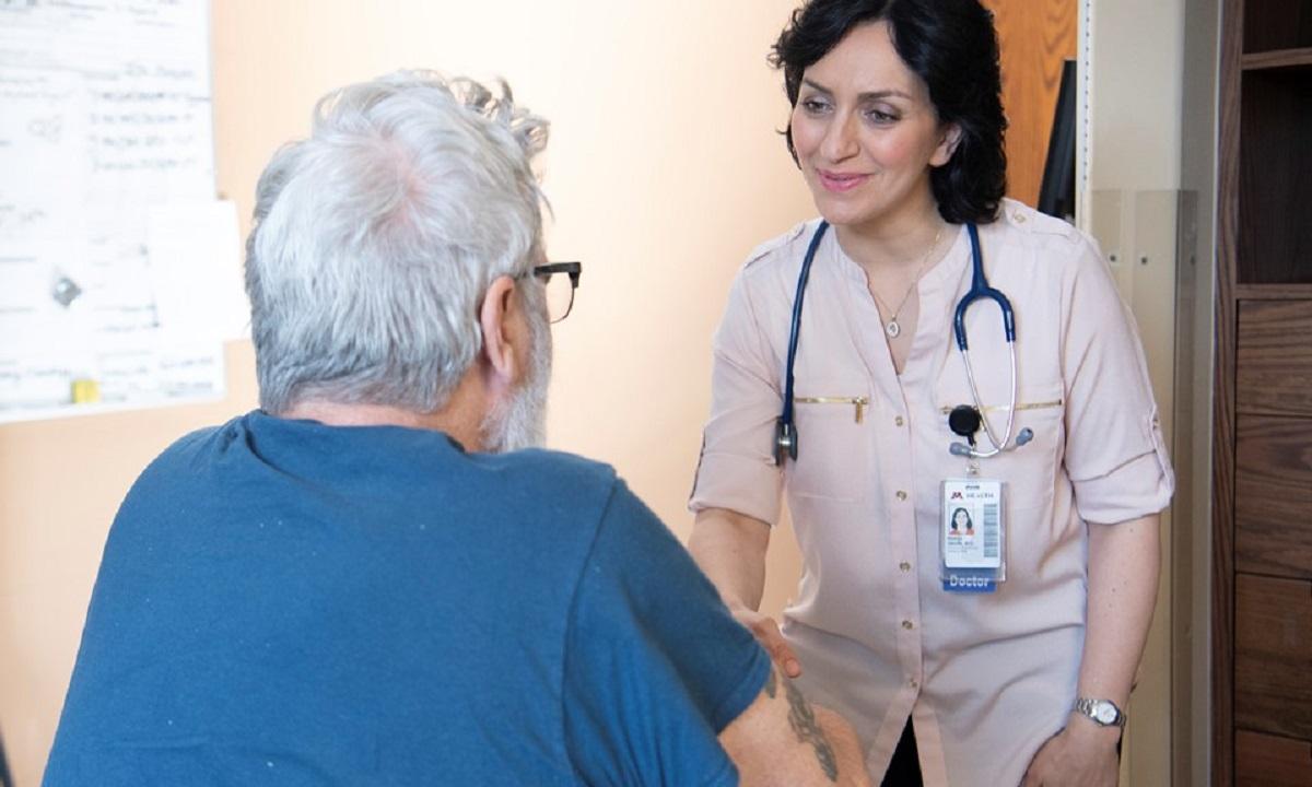 Parisa Salehi, MD, with a patient