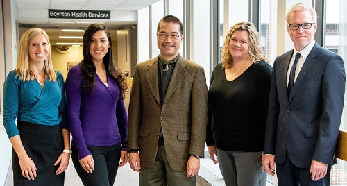 Katie Roberts, RN, MSN; Carolina Sandoval-Garcia, MD; Cornelius Lam, MD, PhD; Leah Kann, RN, CPNP; and Director Daniel Guillaume, MD, MS