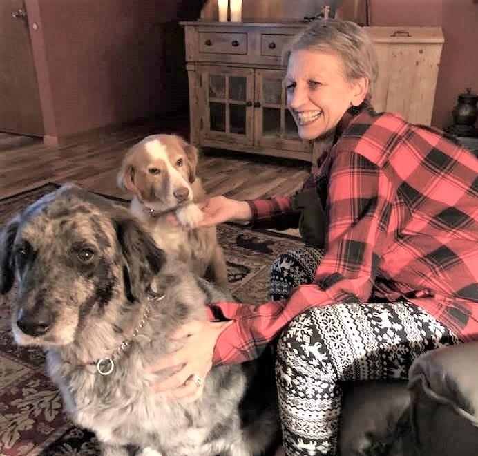 Sally Sawyer with her dogs, Kato and Karma