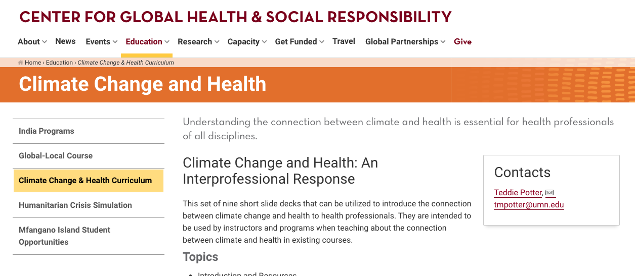 Screenshot of the Climate Change website