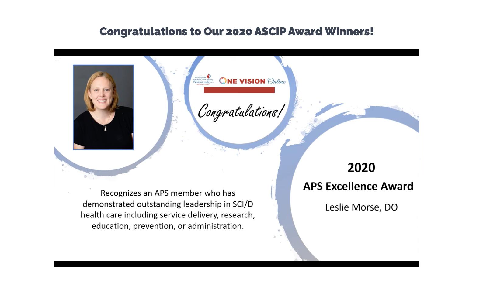 Dr. Leslie Morse's Recognition for the 2020 APS Excellence Award