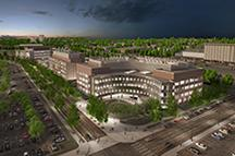 Architectural rendering of the Biomedical Discovery District medical complex at the University of Minnesota