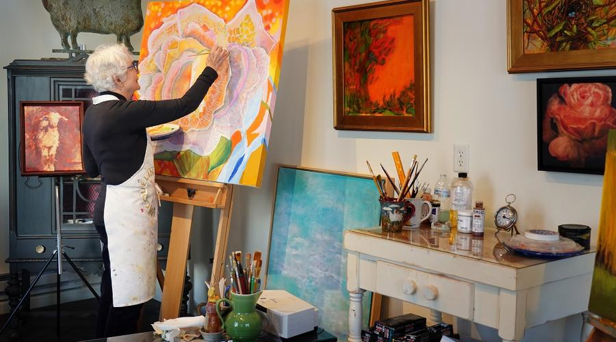 Jacqueline Bergan in her art studio