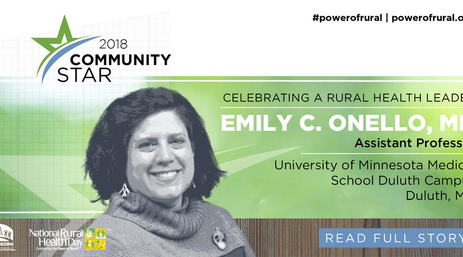 "Dr. Emily Onello, named as a 2018 ""Community Star"" by the National Organization of State Offices of Rural Health (NOSORH)"