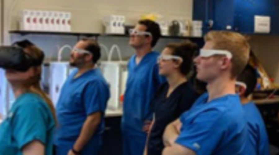 Students wearing 3D goggles