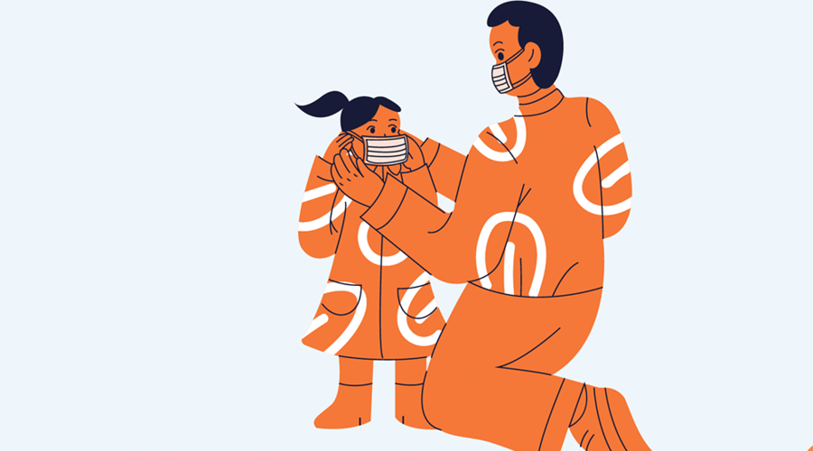 An illustration of a parent and child putting on the child's mask.