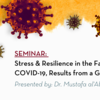 COVID-19 virus image with text displaying the seminar called,  Stress & Resilience in the Face of COVID-19, Results from a Global Study