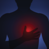An illustration of a man holding his glowing heart.