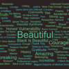 Word cloud of most-used words from the story slam