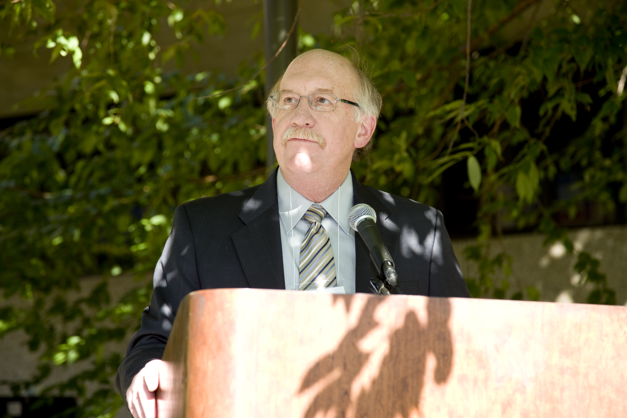 A photo of former Regional Duluth Campus Dean, Dr. Gary L. Davis giving a speech to a crowd during his time as Regional Dean.