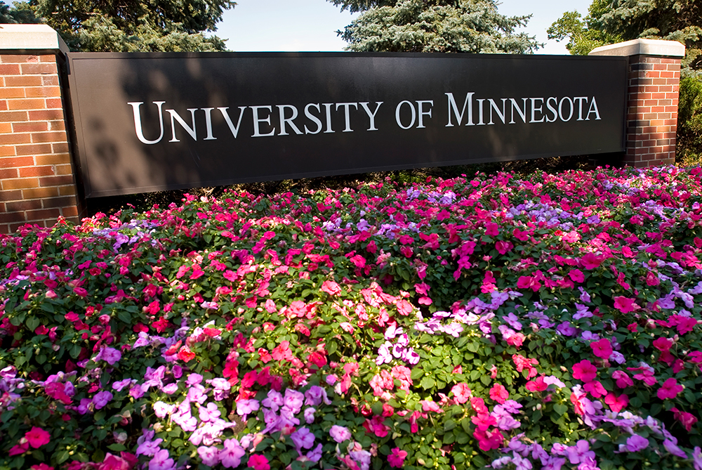 UMN Sign with Pink Flowers