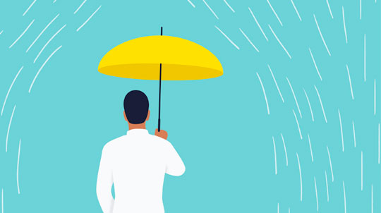 Illustration of a man under an umbrella in the rain
